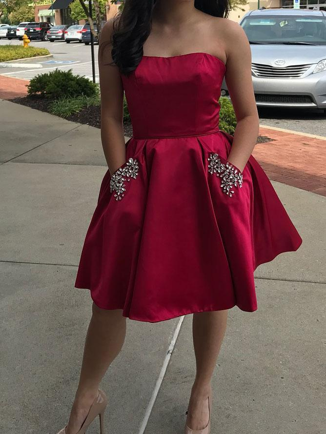 Simple Strapless Cute Cheap Beaded Red Homecoming Dresses, BDY0238