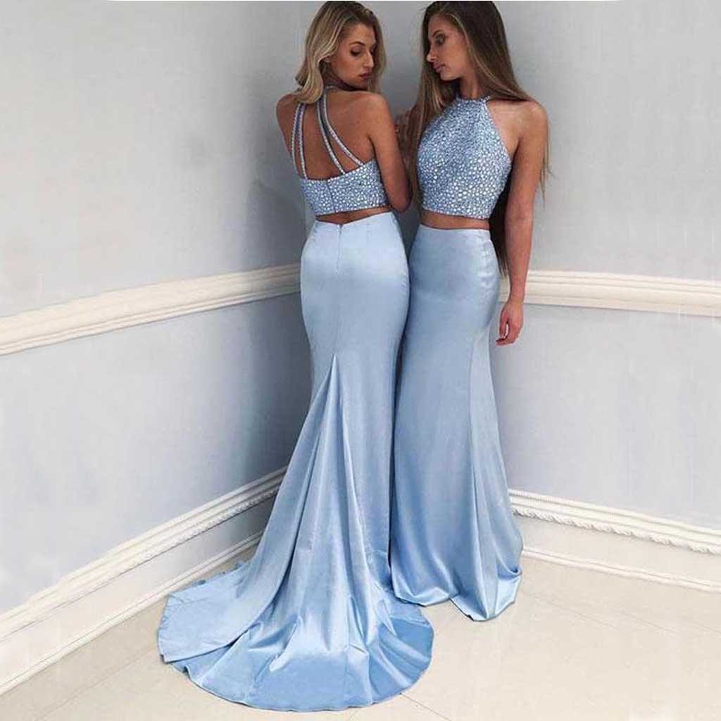 Sexy Two Pieces Blue Mermaid Halter Long Custom Evening Prom Dresses, Party Dresses,PDY0232