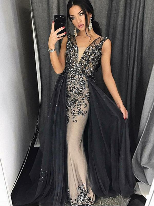 Mermaid V-Neck Dark Grey Prom Dress with Beading,Cheap Prom Dresses,PDY0555