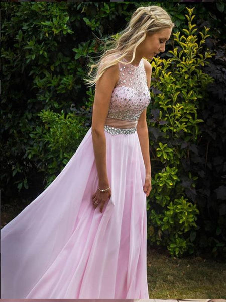 A-line Two Piece Blush Pink Chiffon Prom Dresses,Cheap Prom Dresses,PDY0486