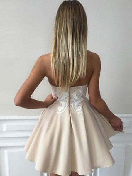 Simple Sweetheart Lace Cute Simple Cheap Homecoming Dresses 2018, BDY0239