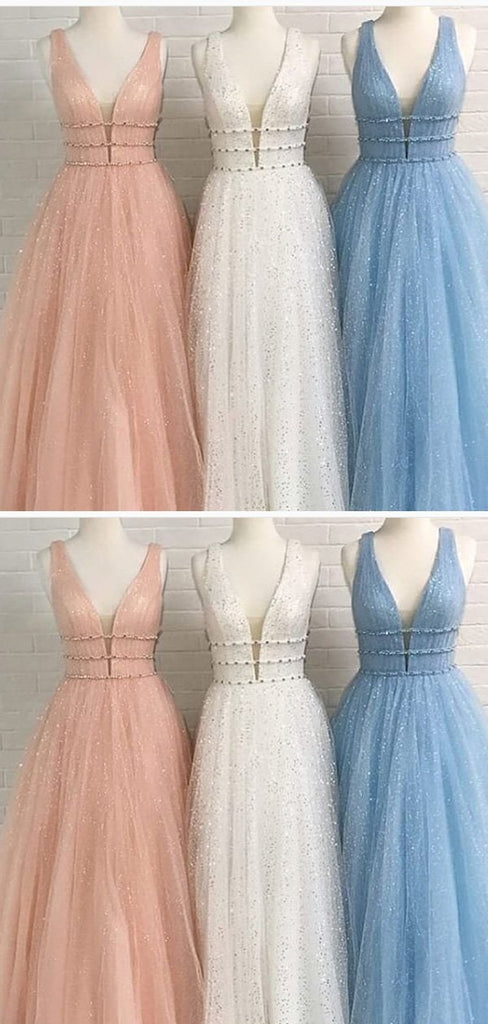 A-line V-neck Blue Tulle Prom Dresses,Cheap Prom Dresses,PDY0489