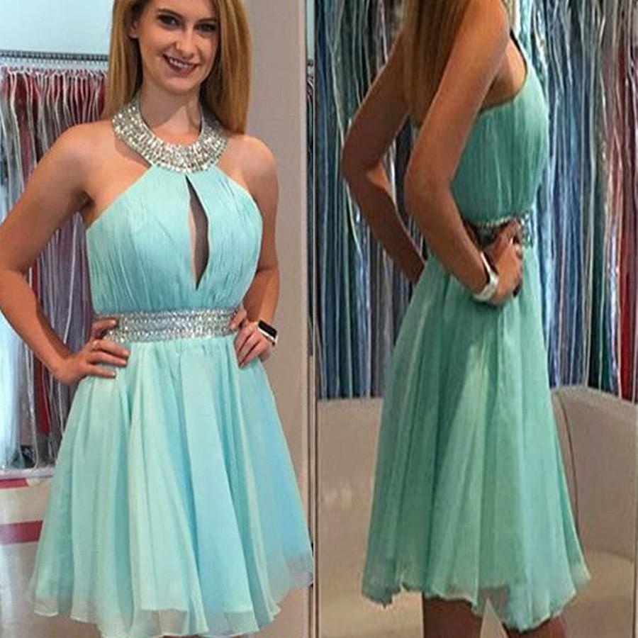 Halter Mint Green off shoulder Chiffon simple freshman formal homecoming dresses, BDY0144