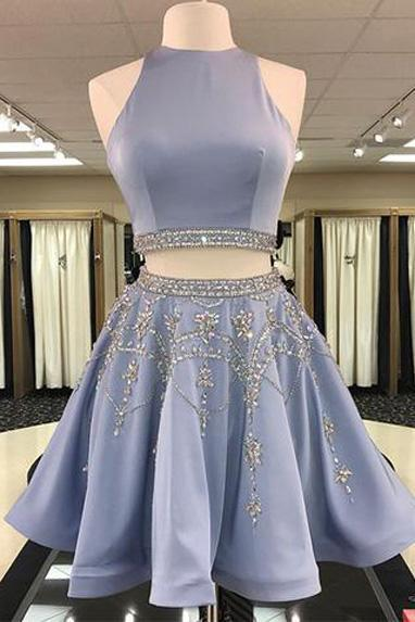 Grey Two Pieces Hatler Beaded Cheap Short Homecoming Dresses 2018, BDY0285