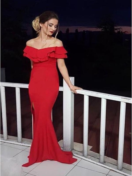 04fcf44bf Mermaid Off-The -Shoulder Red Satin Long Prom Dresses,Cheap Prom Dresses,