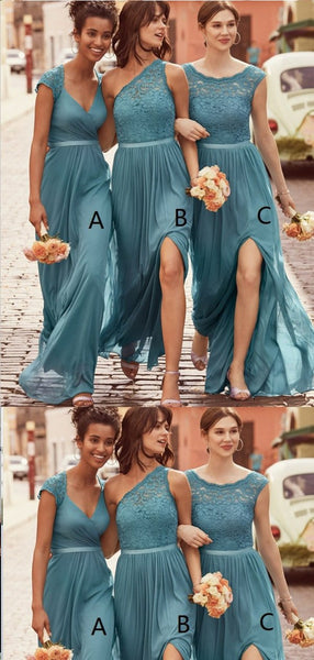 A-Line Scoop Floor-Length Blue Chiffon Bridesmaid Dresses,Cheap Bridesmaid Dresses,WGY0373