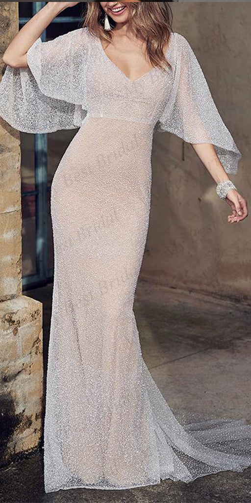 Mermaid  White Sequined Evening Dresses ,Cheap Prom Dresses,PDY0596
