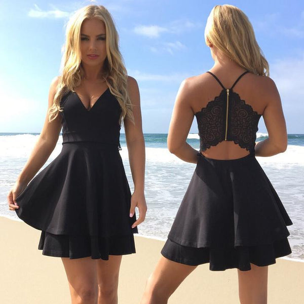Black Short Lace Sleeveless Prom Dress With Beading, Homecoming Dress,BDY0156