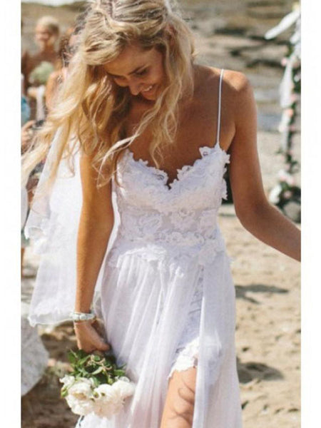 2019 Custom Simple Spaghetti White Lace Side Slit Wedding Dresses For Beach Wedding, WDY0102
