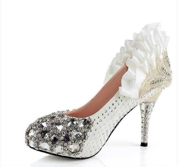 Popular Handmade Rhinestone High Heels Pointed Toe Crystal Wedding Shoes, SY0129