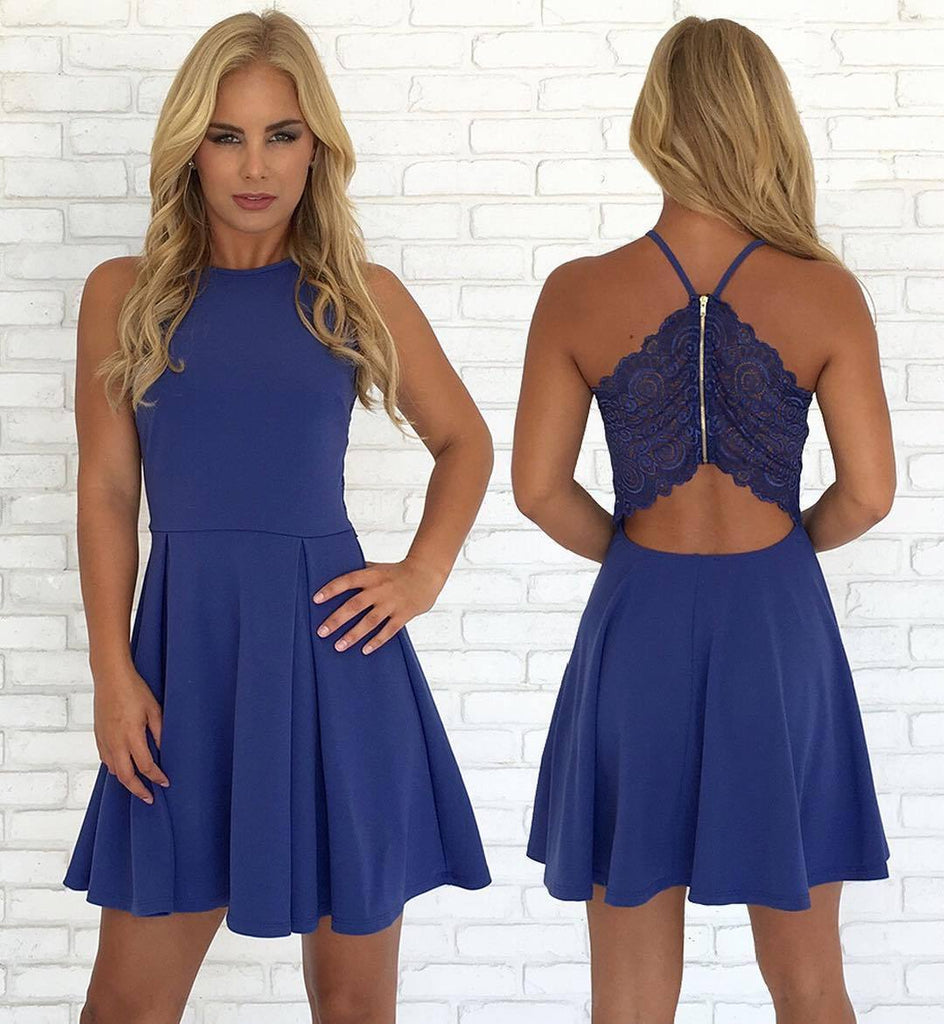 Open Back Blue Cheap Cute Simple Casual Homecoming Dresses 2018,BDY0234