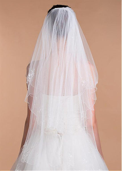 Graceful  Tulle Short Wedding Veil With Beadings & Sequins, WV0115