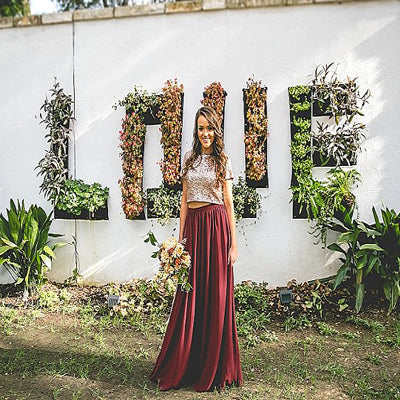High Neck Two Piece Sequin Burgundy Bridesmaid Dress,Cheap Bridesmaid Dresses,WGY0204