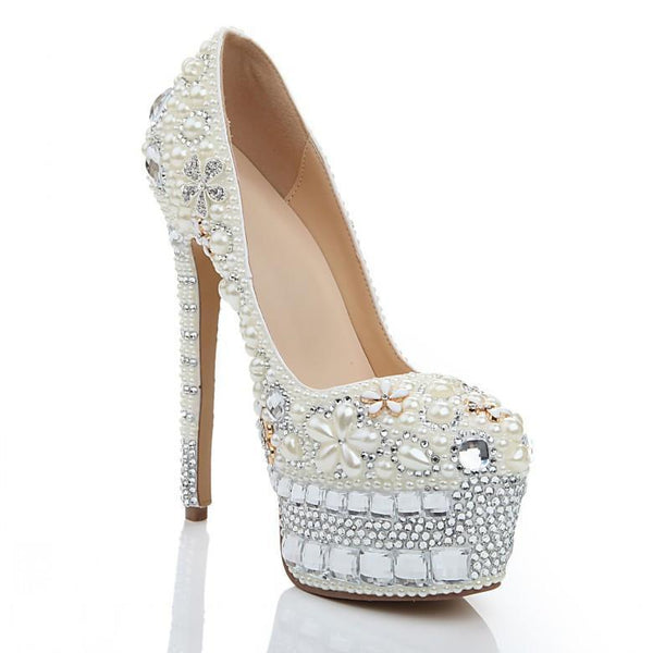 Super High Heels Handmade Pearls Rhinestone Pointed Toe Crystal Wedding Shoes, SY0137