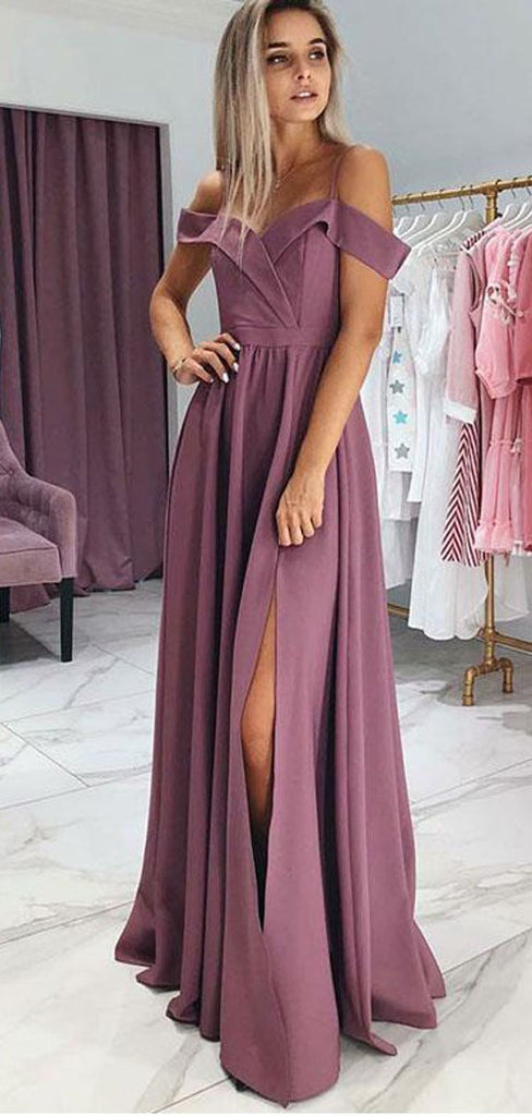A-Line Spaghetti Straps Purple Satin Long Prom Dress With Split,Cheap Prom Dresses,PDY0533