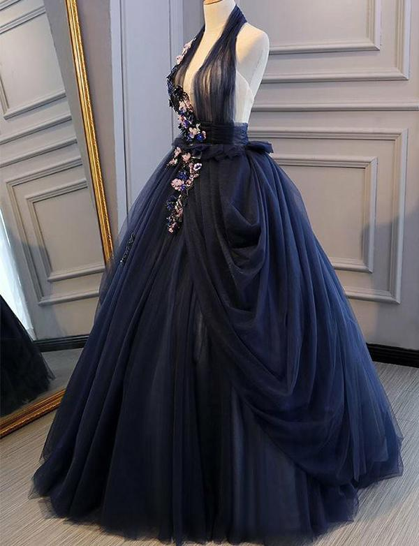 Navy Blue Halter Appliques Backless Prom Dresses,Cheap Prom Dresses,PDY0641
