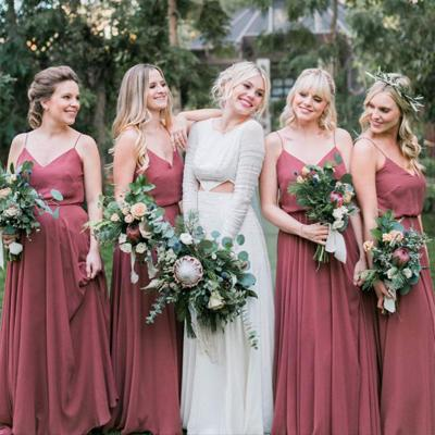 A-line Dusty Rose Chiffon Bridesmaid Dresses,Cheap Bridesmaid Dresses,WGY0398