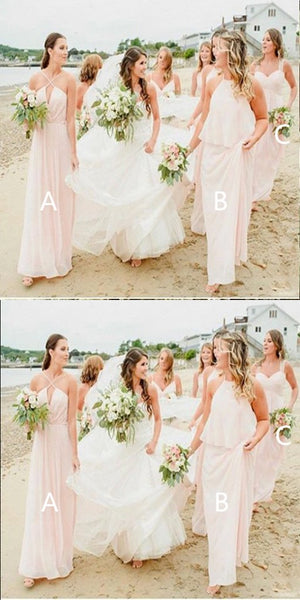 A-line Spaghetti Straps Pink Chiffon Bridesmaid Dresses,Cheap Bridesmaid Dresses,WGY0369