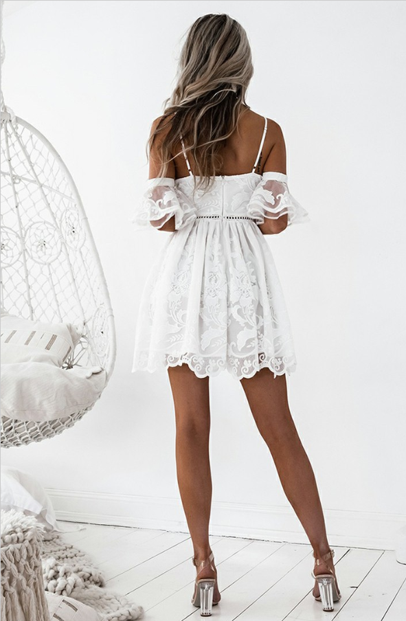 A-Line Spaghetti Straps White Lace Homecoming Dresses ,Short Prom Dresses,BDY0281