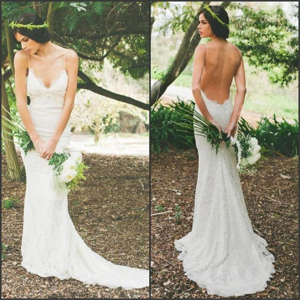 54e038ebf71 2019 Cheap Custom Elegant Open Back Lace Popular New Arrival Wedding Dress  with train