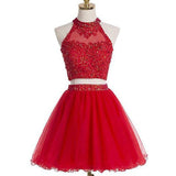 Blush red two pieces halter off shoulder cute freshman homecoming prom dress,BDY0127