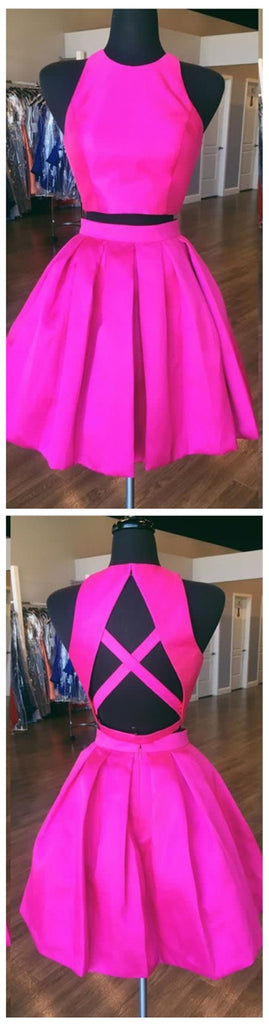 Sexy Open Back Hot Pink Two Piece Simple Cheap Homecoming Dresses 2018,BDY0258