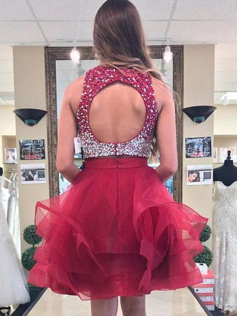 Sexy Open Back Two Pieces Red Homecoming Dresses 2018, BDY0242