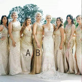 Sparkly Sheath Gold Tulle Bridesmaid Dresses,Cheap Bridesmaid Dresses,WGY0399