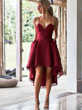A-Line Spaghetti Straps Hi-Lo Red Lace Homecoming Dresses with Pockets ,Short Prom Dresses,BDY0347