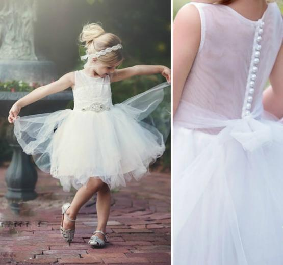 Illusion Lace Top Tulle Flower Girl Dresses, Popular Little Girl Dresses with rhinestone Belt, FGY0129