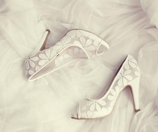 Lace Fish Toe White High Heels Wedding Bridal Shoes, SY0121