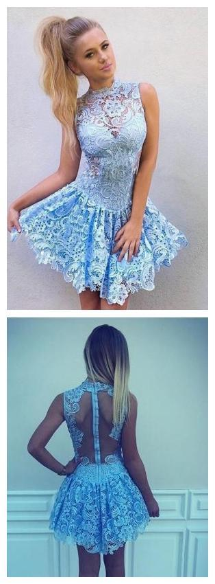 High Neck Blue Lace Illusion Short Cheap Homecoming Dresses Online, BDY0281