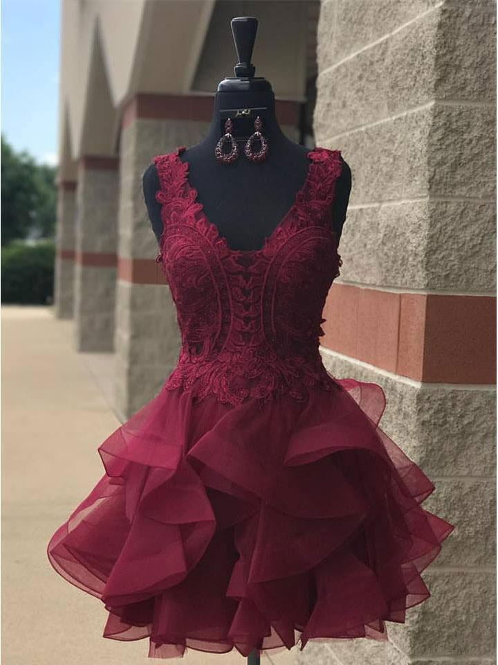 Lace V Neck Cheap Burgundy Homecoming Dresses 2018, BDY0190
