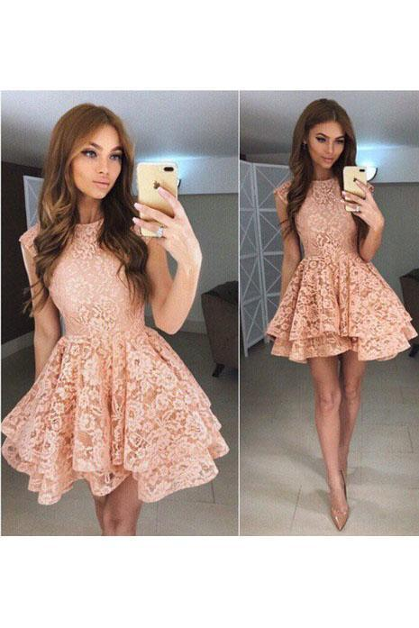 High Neck Peach Lace Cute Short Homecoming Dresses 2018, BDY0284