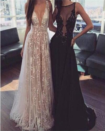A-Line Deep V-Neck Tulle Lace Appliques Floor-Length Long Sexy Party Prom Dress. PDY0201