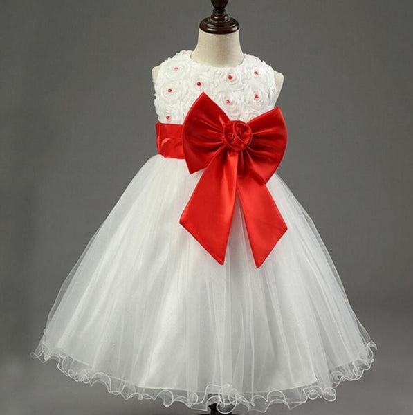 Ivory Online Princess Flower Girl Dresses, Weding Little Girl Dresses with Pink Bow, FGY0139