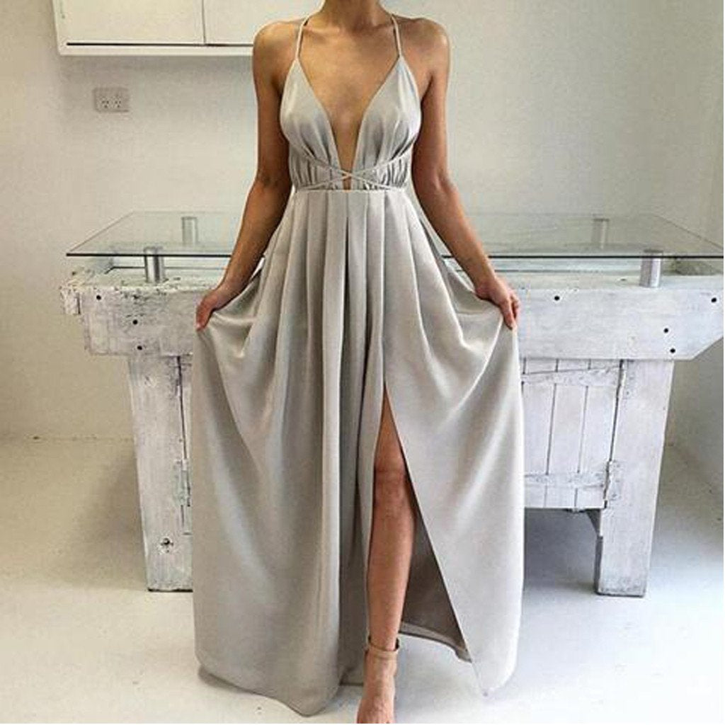Sexy Halter Light Gray Deep V-Neck Side Slit Satin Prom Dresses, BG0240