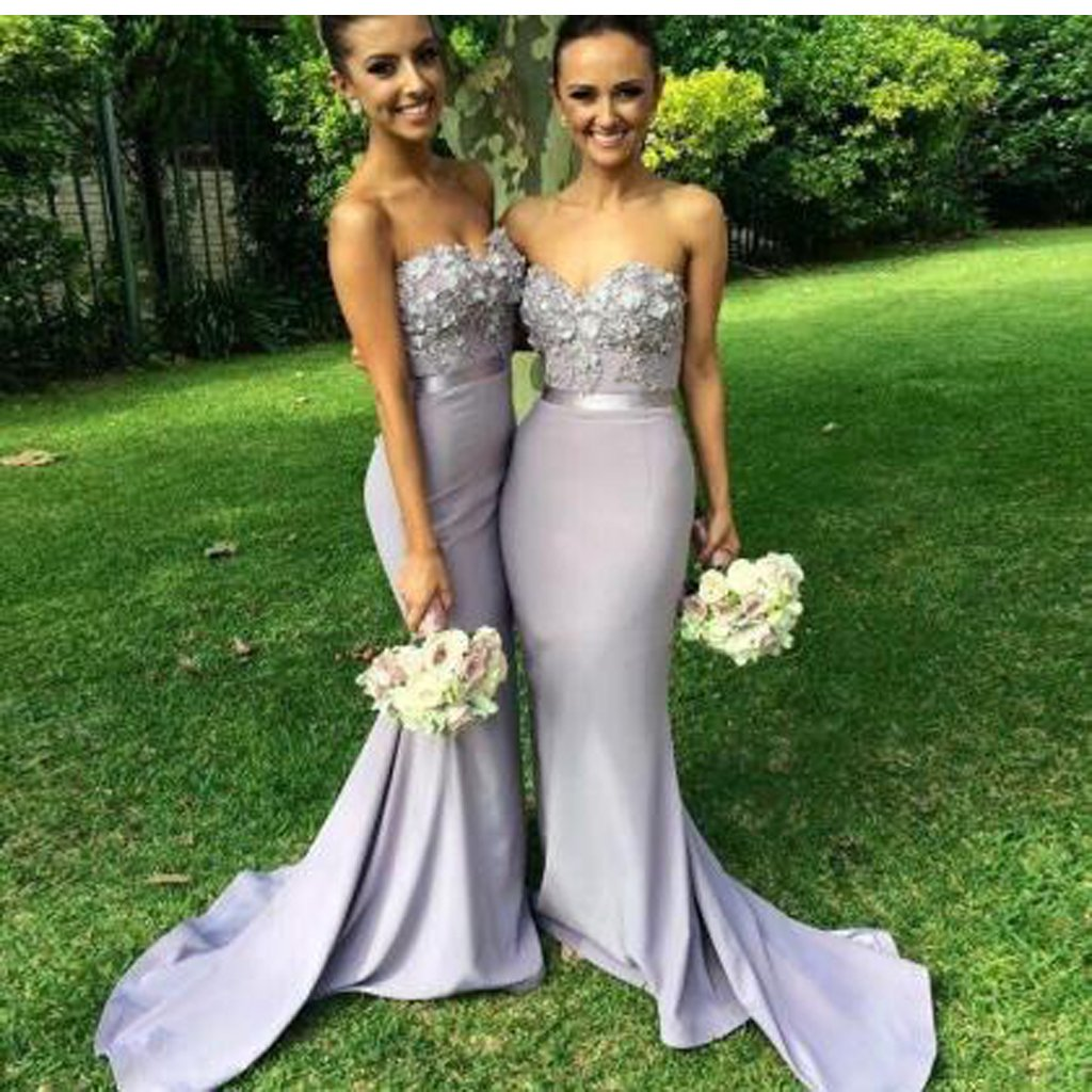 Elegant Chiffon Long Mermaid Bridesmaid Dress Light Grey Sweetheart Appliques Beaded Evening Dresses Custom Made Prom Gowns, WGY0120