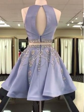 Open Back Grey Beaded Two Pieces Homecoming Dresses 2018,BDY0244