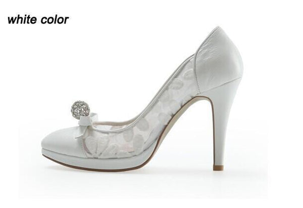 High Heels Pointed Toe White Lace Sexy Wedding Bridal Shoes, SY0118
