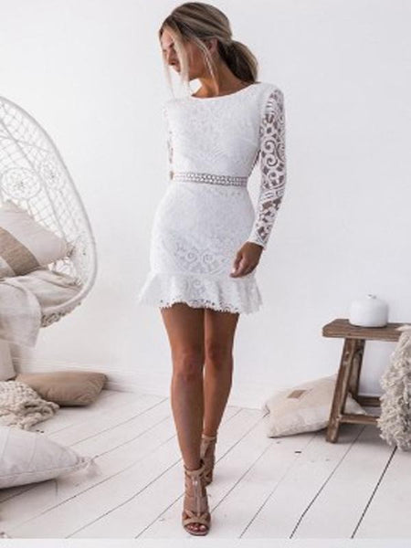 Sheath Knee-Length White Lace Homecoming Dress  ,Short Prom Dresses,BDY0351