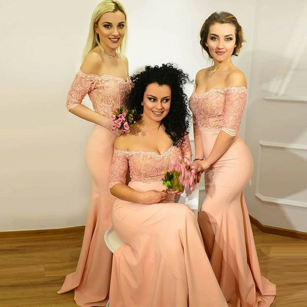 Off Shoulder Long Sleeve Lace Mermaid Long Bridesmaid Dresses, WGY0290