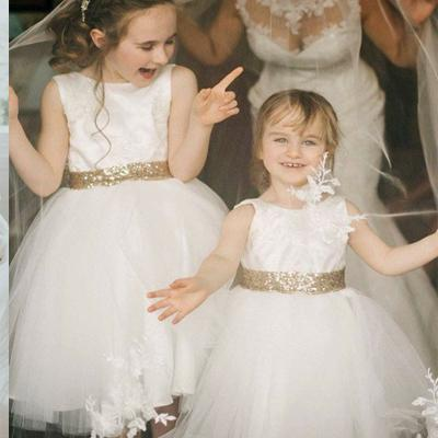A Line White Tulle Gold Sequined Lace Flower Girl Dresscheap Flower