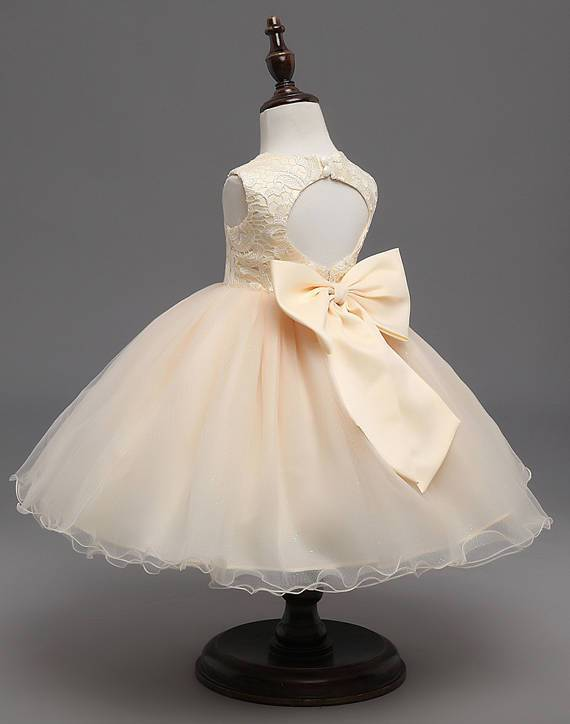 Beige Lace Top Sleeveless Flower Girl Dresses, Popular Tulle Flower Girl Dresses,  FGY0102