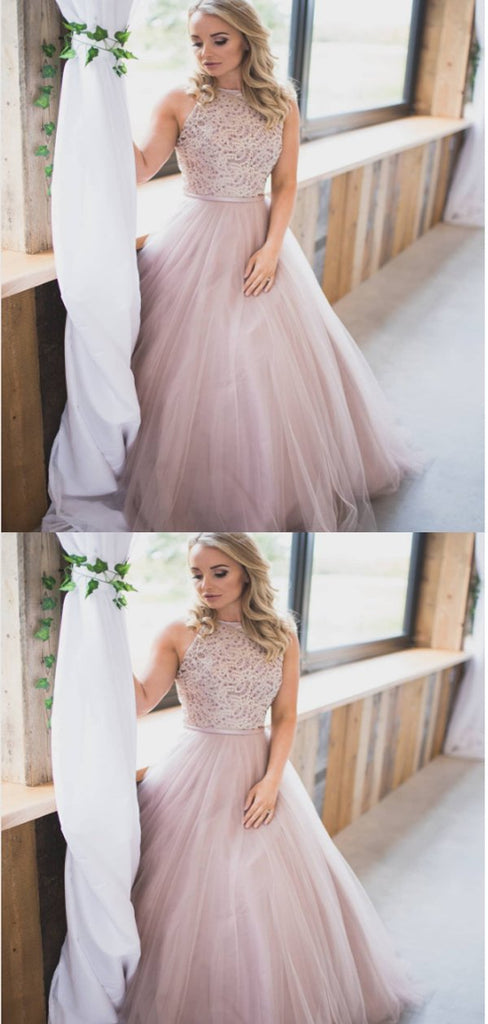 A-line High Neck Beaded Tulle Prom Dresses,Cheap Prom Dresses,PDY0465