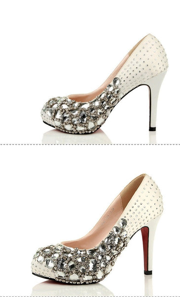 Fashion Handmade Rhinestone High Heels Pointed Toe Crystal Wedding Bridal Shoes, SY0105