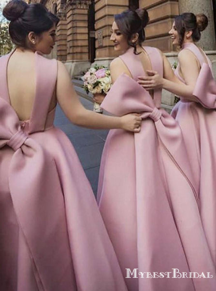 Lovely Satin High Neck A-line Long Bridesmaid Dresses With Bow, TYP0037