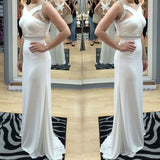 New Arrival Impressive White Elegant Cross Back Beaded Long Bridesmaid Dresses,Bridesmaid Gown,WGY0171
