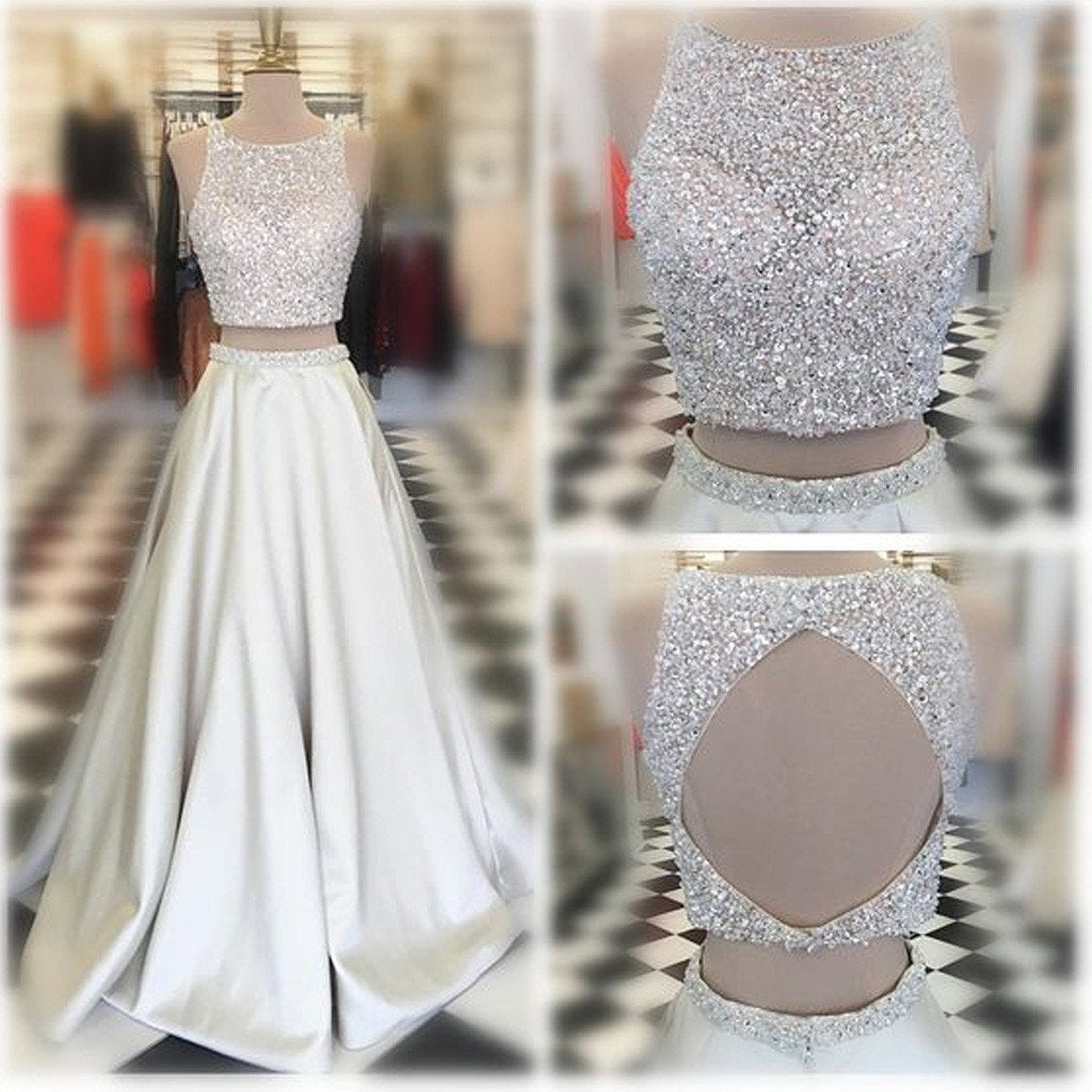 Two Pieces Scoop Neckline Rhinestone Beaded Long A-line Ivory Satin Prom Dresses, BG0287
