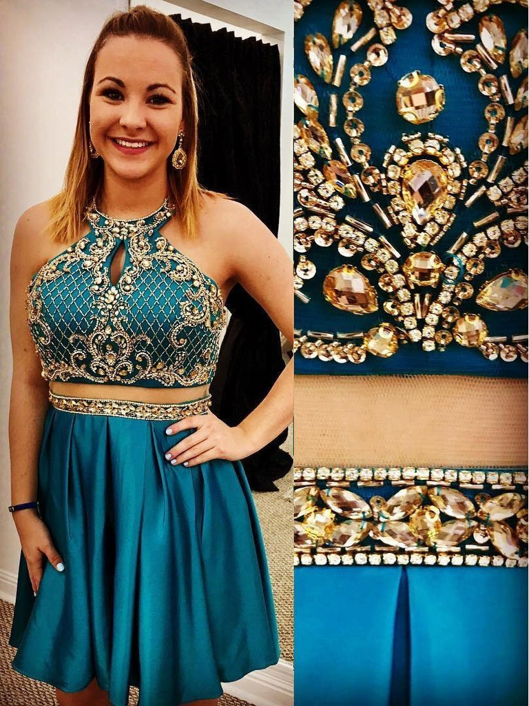 Teal  Cheap Cute Short Two Piece Homecoming Dresses Under 2018, BDY0246